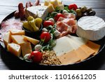 chesse platter with cheese ... | Shutterstock . vector #1101661205