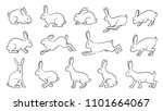 Stock vector rabbits comics line on the white background 1101664067