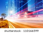 the light trails on the modern... | Shutterstock . vector #110166599