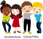 illustration of four kids | Shutterstock .eps vector #110167901