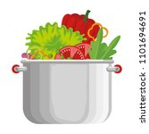 vegetables cooking in kitchen... | Shutterstock .eps vector #1101694691