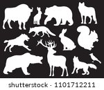 wild animals silhouettes of set ... | Shutterstock . vector #1101712211