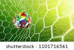 soccer ball in goal   russia... | Shutterstock . vector #1101716561