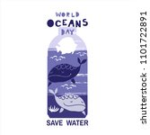 World Oceans Day . Template...