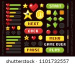 pixel game buttons  navigation... | Shutterstock . vector #1101732557