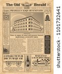 vintage newspaper template with ... | Shutterstock . vector #1101732641
