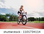 female athletes bike  the...   Shutterstock . vector #1101734114