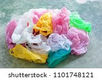 colorful plastic bag on cement... | Shutterstock . vector #1101748121