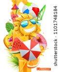 summer cocktail 3d vector.... | Shutterstock .eps vector #1101748184