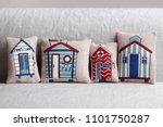 cushion with beach houses | Shutterstock . vector #1101750287