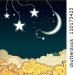 cartoon style night sky | Shutterstock . vector #110175425