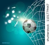 soccer ball in the goal net on... | Shutterstock .eps vector #1101779447