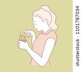 girl touching a sharp cactus.... | Shutterstock .eps vector #1101787034