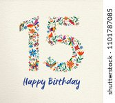 happy birthday 15 fifteen years ... | Shutterstock .eps vector #1101787085