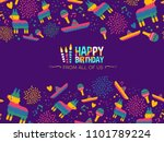 happy birthday greeting card... | Shutterstock .eps vector #1101789224