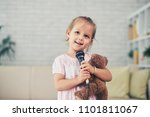 portrait of smiling little girl ... | Shutterstock . vector #1101811067