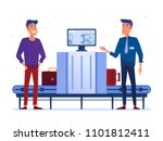 customs security guard on x ray ... | Shutterstock .eps vector #1101812411