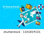 traveler's accessories.... | Shutterstock .eps vector #1101819131