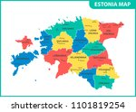 the detailed map of estonia... | Shutterstock . vector #1101819254