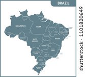 the detailed map of the brazil... | Shutterstock . vector #1101820649