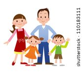 portrait of four member family... | Shutterstock . vector #110183111