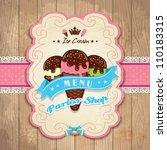 vintage frame with icecream... | Shutterstock .eps vector #110183315
