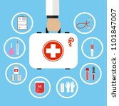 first aid kit in doctor hand.... | Shutterstock .eps vector #1101847007
