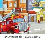 the red hero firetruck guarding ... | Shutterstock . vector #110185049