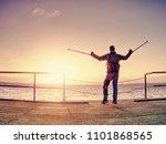happy disabled man on bridge... | Shutterstock . vector #1101868565