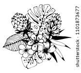bouquet. tropical flowers ... | Shutterstock .eps vector #1101873677