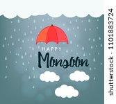 happy monsoon season design ... | Shutterstock .eps vector #1101883724