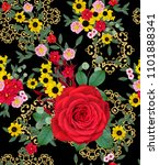 floral seamless pattern. red... | Shutterstock . vector #1101888341