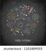 greeting card with colored... | Shutterstock .eps vector #1101889055