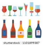 alcohol bottles and glasses... | Shutterstock .eps vector #1101899387
