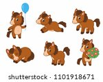 set of cute funny pony. little... | Shutterstock .eps vector #1101918671