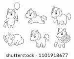 set of cute funny pony. little... | Shutterstock .eps vector #1101918677