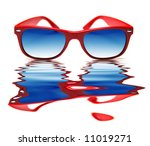 funky red sunglasses  with... | Shutterstock . vector #11019271
