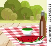 red napkin  picnic basket and...   Shutterstock .eps vector #1101930311