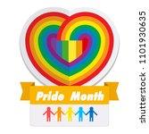 pride month ribbon rainbow...   Shutterstock .eps vector #1101930635
