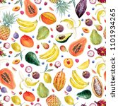 watercolor tropical pattern... | Shutterstock . vector #1101934265