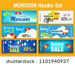 Creative Sale Banner Or Sale Poster Of Monsoon Season With Colorful Umbrella,rain drop,Text Space Background rainy elements with hand lettering text for promotion, flyer and greetings. - stock vector