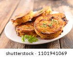 baked polenta portion | Shutterstock . vector #1101941069