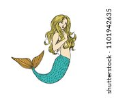 blonde mermaid with turquoise... | Shutterstock .eps vector #1101942635