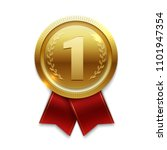 winner gold medal with red... | Shutterstock . vector #1101947354