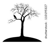 Silhouette Ravens On Tree...