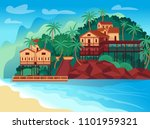 tropical island with bungalows... | Shutterstock .eps vector #1101959321