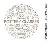 vector pottery workshop banner... | Shutterstock .eps vector #1101960161