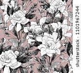 peony seamless pattern. hand... | Shutterstock . vector #1101967244