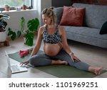fit healthy pregnancy  happy... | Shutterstock . vector #1101969251