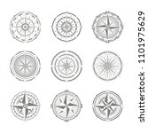 vector icon set with compass... | Shutterstock .eps vector #1101975629